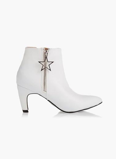 Twist Slogan Ve Kristal Taş Detaylı Çorap Form Bot Beyaz